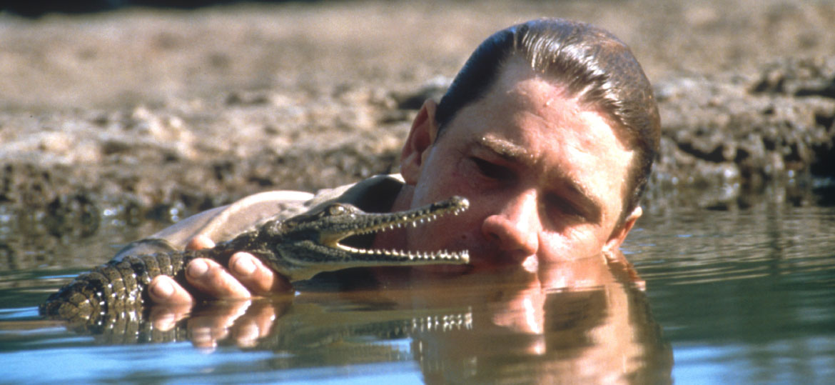 Steve Irwin with a baby crocodile